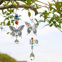 Handmade Butterfly Crystal Ball Prism  Chakra  Hanging Ornament
