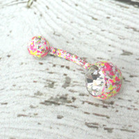 Pink and Yellow Splatter Paint Belly Button Ring Barbell