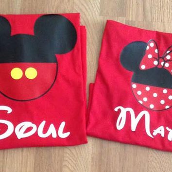 Free/Fast Shipping for US Soul Mate Mickey and Minnie Couples T Shirts/Tank Top.