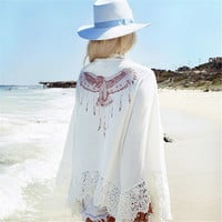 New Arrival 2016 Summer Lace Crochet Kimono Cardigan Back Eagle Print Long Sleeve Loose White Blouse Shirt Beach Tops Cover Up