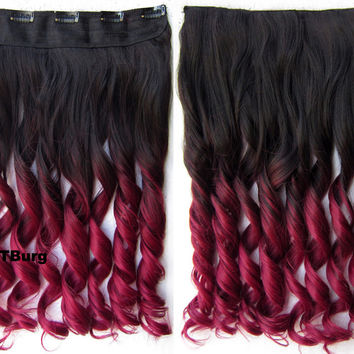 "Dip dye hairpieces New Fashion 24"" Women Clip in on gradient wig Bath & Beauty Hair Ombre Hair Extensions Two Tone Curly Hair Gradient Hair Extension Colorful Hairpieces GS-888 2TBurg,1PCS"