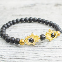 Matte black onyx beaded gold Hamsa hands stretchy bracelet, made to order yoga bracelet,  mens bracelet, womens bracelet