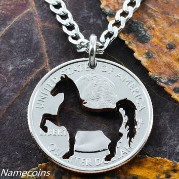 Horse necklace, Cowgirl jewelry, Prancing horse cut by hand in quarter by Namecoins