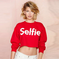 Hoodies Selfie Letter Printing Clothing Long Sleeve Casual Sweatshirt Pullover Crop Tops Girl's O-neck Hoodies