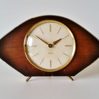 Mid Century Clock, Westclox 1950s Mantle Clock, MCM, Working Timepiece, Wooden and Gold Tone Oval Surround, Vintage Home Decor, As Is.