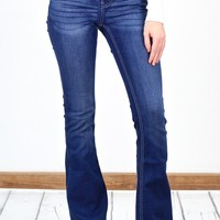 Mid-Rise Stretchy Flare Jeans {Dk. Wash}