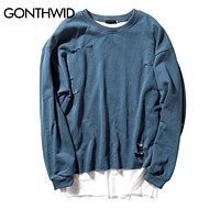 GONTHWID Ripped Double Layer Hoodies Men 2017 Autumn Patchwork Distressed Destroyed Pullover Sweatshirts Streetwear 4 Colors