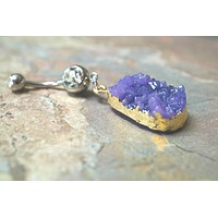 Purple Druzy Belly Button Jewelry Ring