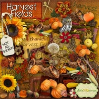 Harvest Fields - Fall Autumn themed - Digital Scrapbook Kit and  FREE QuickPage