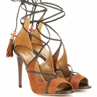 Hero 105 suede and leather lace-up sandals