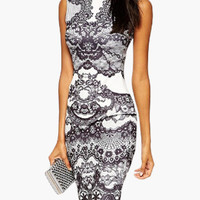 White Floral Lace Sleeveless Bodycon Midi Dress