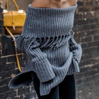 long sweater fashion slim slash neck and pullovers female jumpers