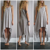 A Simple Flow Dress in Heathered Gray