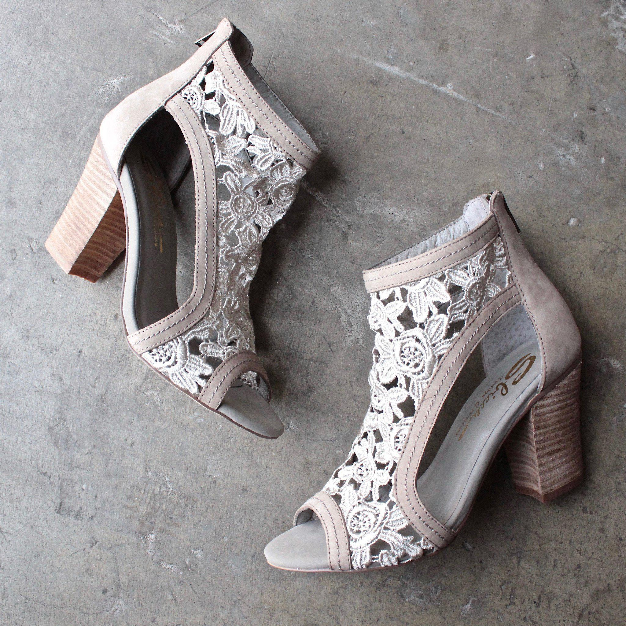 Image of sbicca vintage collection - rocio lace heels - stone