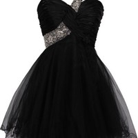 Beaded One-Shoulder Mesh Party Short Prom Homecoming Dress, XL, Black
