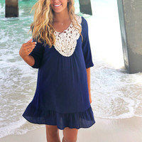 Hampton Beach Navy Blue Crinkle Crochet Neck Ruffle Tunic Dress