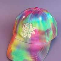 Rose Rainbow Tie Dye Baseball Cap