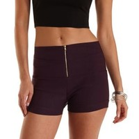Purple Ruched Zip-Up High-Waisted Shorts by Charlotte Russe