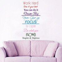 Family Wall Decal Quote Work Hard Dream Big Vinyl Stickers Inspirational Decals Bedroom Art Mural Living Room Decor Design Interior KY159