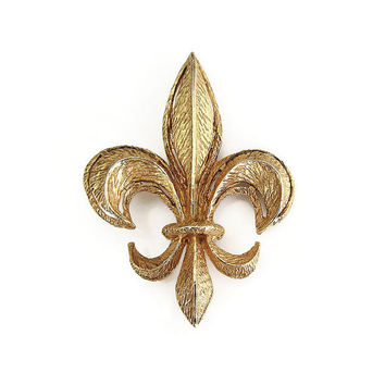 Fleur De Lis Brooch, Vintage Brooch, French Style, Statement Jewelry, MCM, Mid Century, Vintage Jewelry