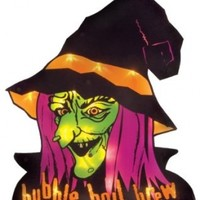 Impact Innovations Halloween Shimmer Lighted Window Decoration, Witch Face