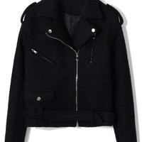 Felt Wool Motocycle Jacket with Belt in Black