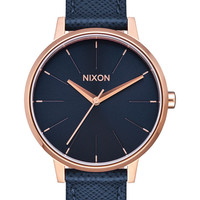 NIXON | Kensington Leather Watch - Navy/Rose Gold