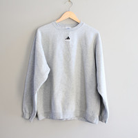 Adidas Sweatshirt Grey Fleece Lining Cotton Adidas Pullover Baggy Slouchy Sweater Vintage Minimalist 90s Sweater Size L