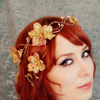 Bronze embers a floral flapper crown by gardensofwhimsy on Etsy