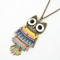 FREE SHIPPING Yellow Colorful Owl Bronze Necklace@09051229 from DressLoves