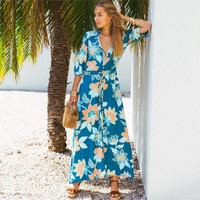 Vintage Floral Print Dress V-Neck Half Sleeve Dresses Bohemian Beach Maxi Dress Casual Women Vestidos