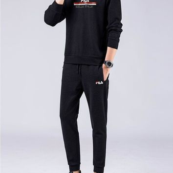 """ Flia"" Men Casual Fashion Stripe Letter Long Sleeve Round Neck Sweater Trousers Set Two-Piece Sportswear"