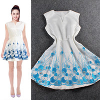 Sleeveless Roundsplit Neck  Embroidered Organza Mini Dress