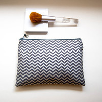 Bridesmaid Cosmetic Clutch Pouch Purse Bag, padded pouch clutch in silver gray metallic chevron/ Mothers day