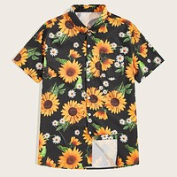 Fashion Casual Men Sunflower Print Shirt