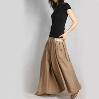 RED POCKET Long SKirt (tan/beige) less is more (Q1001)