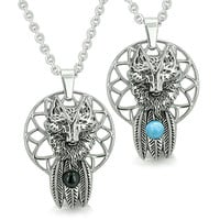 Wolf Dreamcatcher Love Couple Moon Energy Simulated Onyx Simulated Turquoise Eye Pendant Necklaces