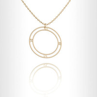 Roman numeral 14k Gold necklace circle necklace Personalized jewelry