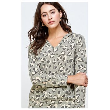 Adorable Light Olive Animal Print Hooded Top