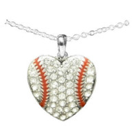 Heart Shaped Baseball / Softball Cable Necklace