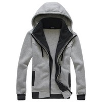 Winter Men Zippers Hoodies Hats Tops Casual Jacket [6528674691]