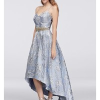 High-Low Brocade Ball Gown with Beaded Waist - Davids Bridal