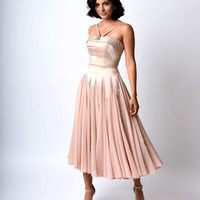 Preorder -  Iconic by UV Champagne Satin & Chiffon Dovima Ballerina Swing Dress