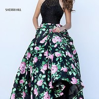 High Neck Ball Gown Style Print Prom Dress by Sherri Hill