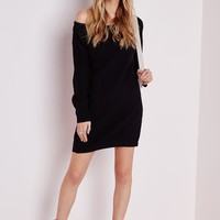 Missguided - Ayvan Off Shoulder Knitted Sweater Dress Black