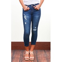 Zena Distressed Patched Ankle Skinny Jeans
