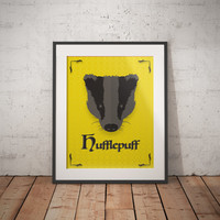 Hufflepuff Poster - Hufflepuff Print - Harry Potter Poster - Harry Potter Wall Art - Hogwarts House Decor - Harry Potter Gift - Book Decor