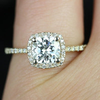 Barra Petite Size 14kt Yellow Gold Thin FB Moissanite and Diamond Cushion Halo Engagement Ring (Other metals and stone options available)