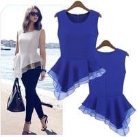 Ladies Peplum Irregular Tank Tops Frill Fitted Shirt Party Tails Blouse 18726 = 1945809860