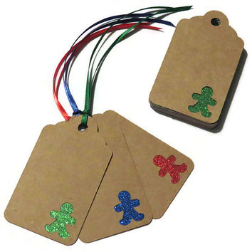 15 Gingerbread men Christmas Gift Tags - handmade glitter gift tags